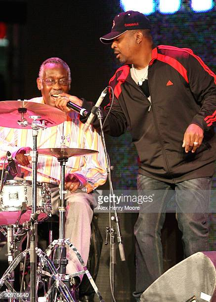Drummer Clyde Stubblefield and rapper Chuck D perform on stage during the Wrap Party/Eclectic Method remixes The Essential 100 at Yonge and Dundas...
