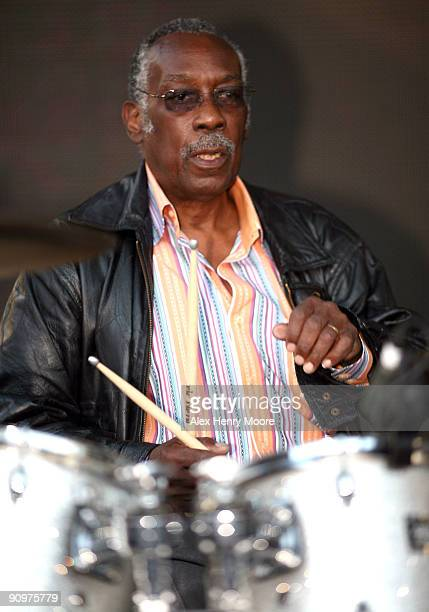 Drummer Clyde Stubblefield rehearses ahead of the Wrap Party/Eclectic Method remixes The Essential 100 at Yonge and Dundas Square during the 2009...