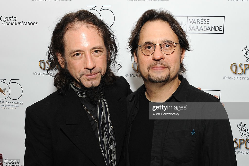 Drummer <a gi-track='captionPersonalityLinkClicked' href=/galleries/search?phrase=Dave+Lombardo&family=editorial&specificpeople=2006339 ng-click='$event.stopPropagation()'>Dave Lombardo</a> (R) of Slayer and guitarist Gerry Nestler attend Varese Sarabande Worldwide 35th Anniversary Special Halloween Concert Gala at Warner Grand Theatre on October 19, 2013 in San Pedro, California.