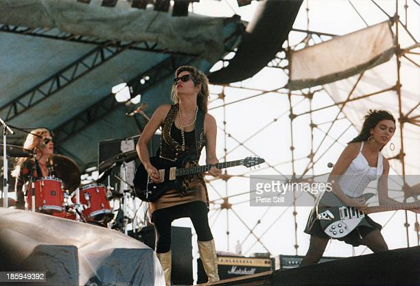 Drummer Debbi Peterson Vicki Peterson and Susanna Hoffs of The Bangles perform on stage at Milton Keynes Bowl on June 21st 1986 in Buckinghamshire...