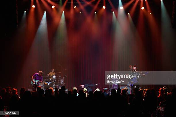 Drummer Elaine Bradley guitarist Chris Allen singer Tyler Glenn and bassist Branden Campbell of Neon Trees perform during the Scleroderma Research...