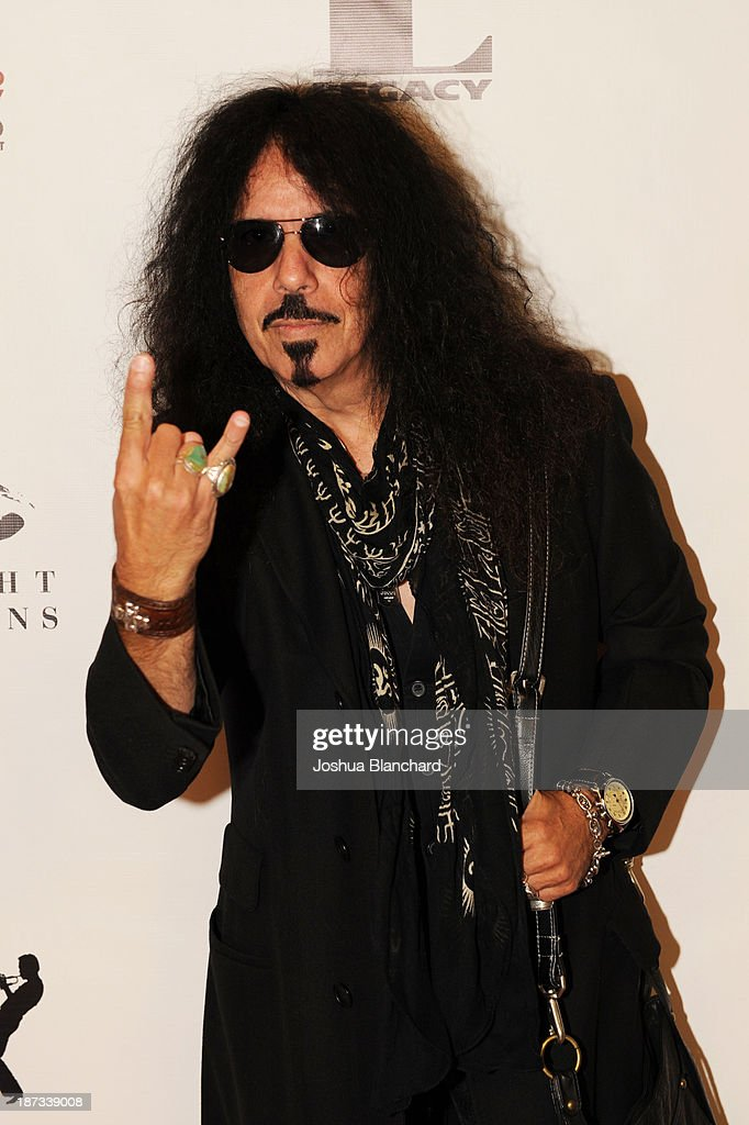Drummer Frankie Banali arrives at Mr. Musichead Gallery for the 'Miles Davis: The Collected Artwork' Launch Party on November 7, 2013 in Los Angeles, California.