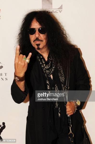 Drummer Frankie Banali arrives at Mr Musichead Gallery for the 'Miles Davis The Collected Artwork' Launch Party on November 7 2013 in Los Angeles...