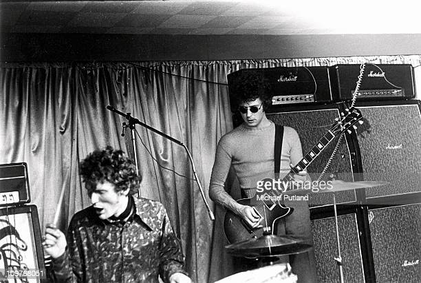 Drummer Ginger Baker and guitarist Eric Clapton of British band Cream perform on stage at the Starlight Ballroom in Greenford London in 1967