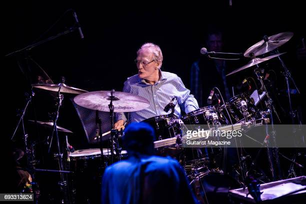 Drummer Ginger Baker performing live on stage as part of the 'Evening For Jack Bruce' tribute concert at the O2 Shepherd's Bush Empire in London on...