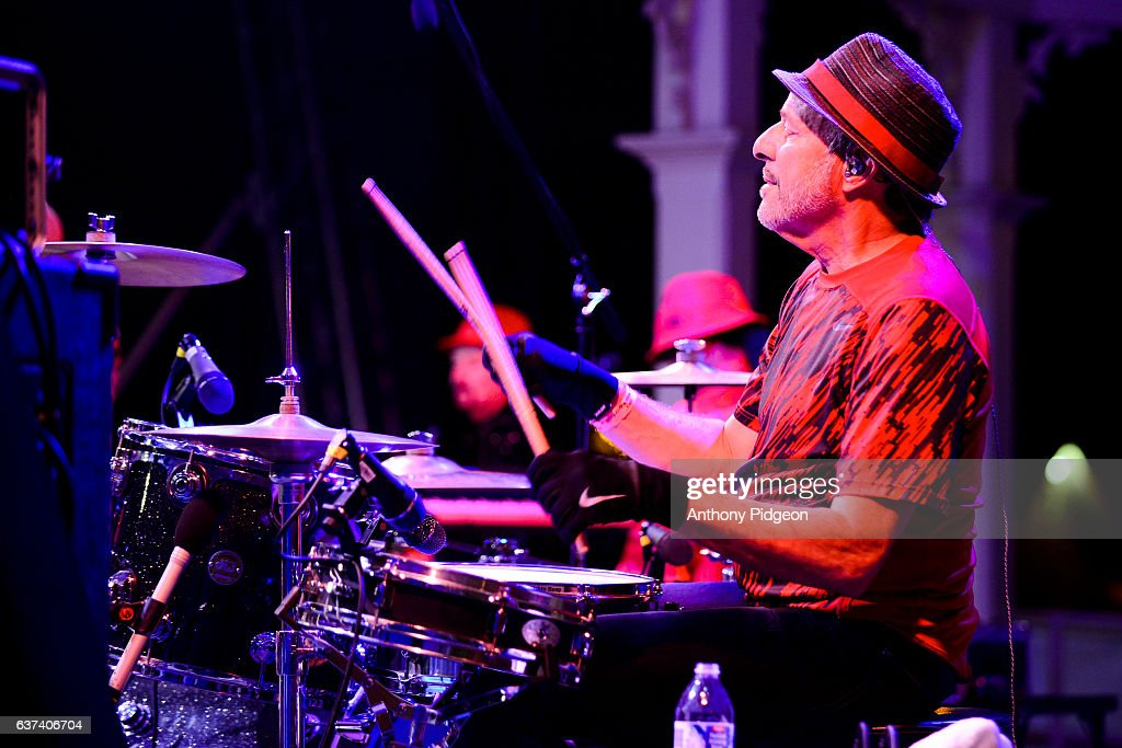Drummer Greg Errico of The Family Stone performs onstage at the Vancouver Wine & Jazz Festival at Esther Short Park, Vancouver, Washington, USA on 28th August, 2016.