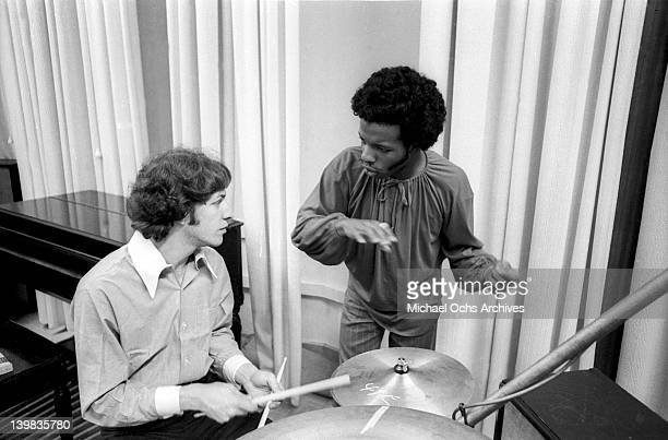 Drummer Gregg Errico and musician Sly Stone of the psychedelic soul group 'Sly And The Family Stone' work on an album for the 'Spaulding Wood Affair'...