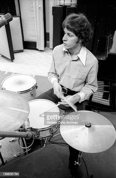 Drummer Gregg Errico of the psychedelic soul group 'Sly And The Family Stone' work on an album for the 'Spaulding Wood Affair' which Sly Stone was...