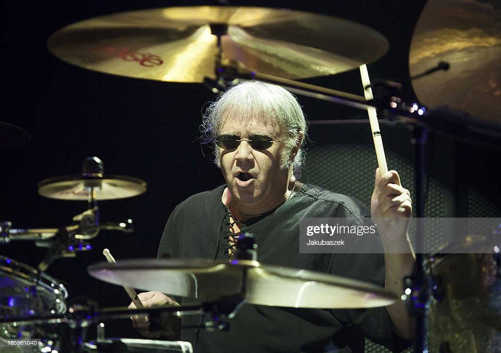 Drummer <a gi-track='captionPersonalityLinkClicked' href=/galleries/search?phrase=Ian+Paice&family=editorial&specificpeople=594940 ng-click='$event.stopPropagation()'>Ian Paice</a> of the English band Deep Purple performs live during a concert at the Max-Schmeling-Halle on October 26, 2013 in Berlin, Germany.