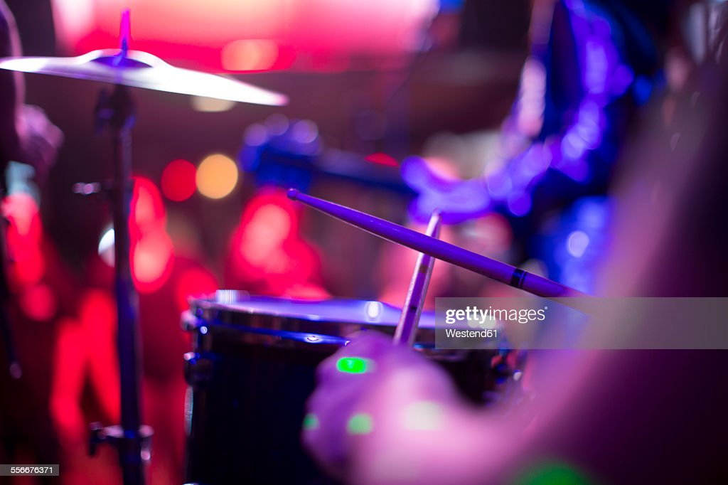 Drummer in a rock band : Stock Photo