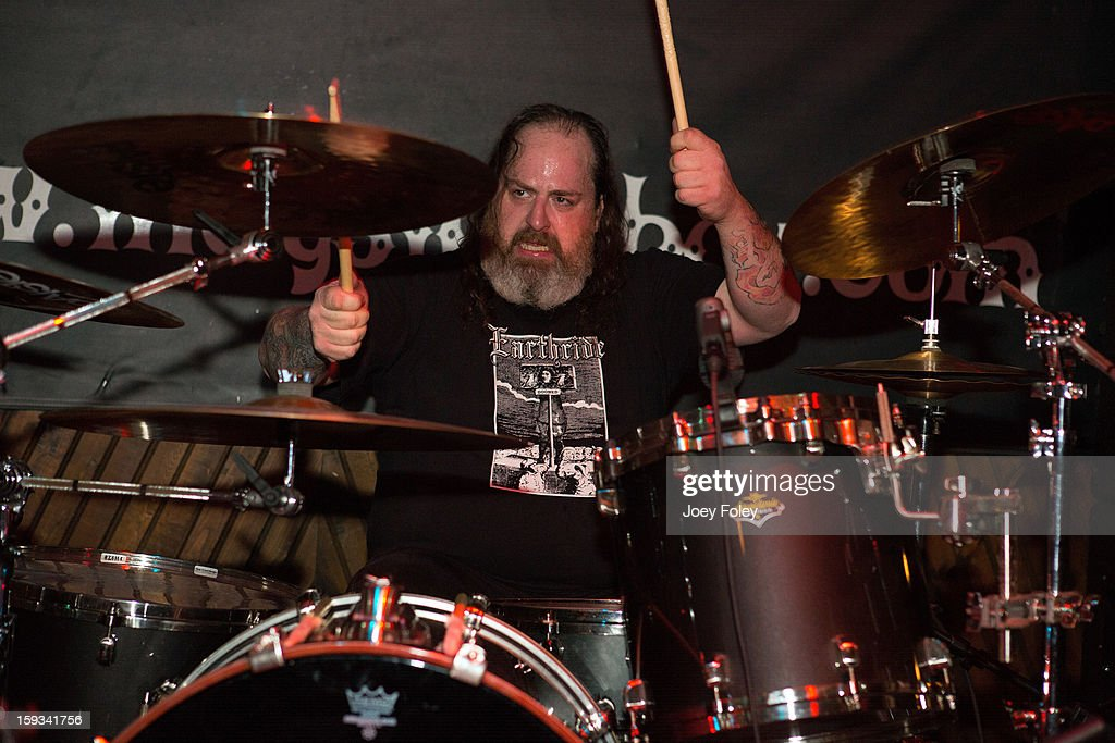 Drummer 'Iron' Bob Fouts of The Gates Of Slumber performs at Indy's Jukebox on January 11, 2013 in Indianapolis, Indiana.