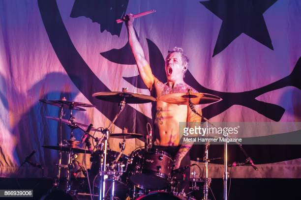 Drummer James Cassells of English metalcore group Asking Alexandria performing live on stage at the O2 Academy Brixton in London on April 8 2017