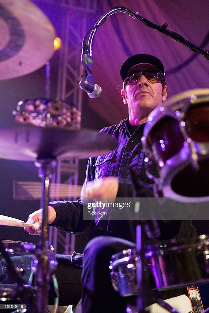 Drummer Jeffrey Clemens of G. Love & Special Sauce performs in concert at Stubb's Bar-B-Q on February 9, 2013 in Austin, Texas.