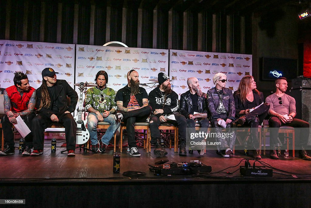 Drummer Jeremy Spencer, guitarist Zoltan Bathory, guitarist Jason Hook, bassist Chris Kael, musician Zakk Wylde, guitarist Scott Ian, guitarist John 5, vocalist Sebastian Bach and vocalist Greg Puciato attend the Revolver Golden Gods Awards press conference at Hard Rock Cafe - Hollywood on January 30, 2013 in Hollywood, California.