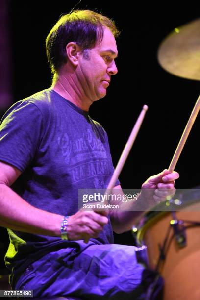 Drummer Jerry Trebotic of Mike Watt of The Secondmen performs onstage for an opening set during X 40th anniversary tour at The Novo by Microsoft on...