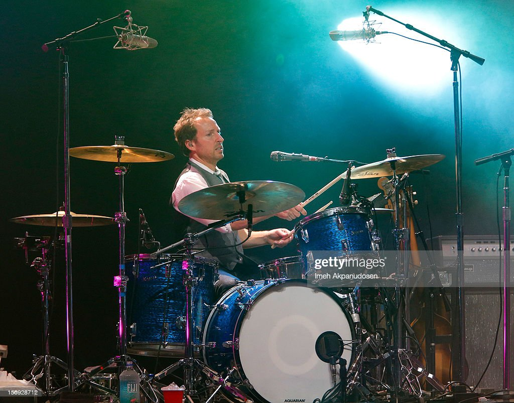 Drummer Jim Bogios of Counting Crows performs onstage at The Wiltern on November 24, 2012 in Los Angeles, California.