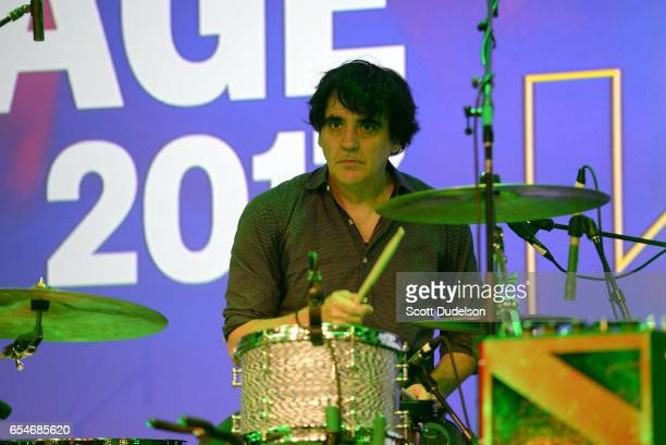 Drummer Jim Eno of the band Spoon performs onstage during the SXSW Radio Day Stage at the Austin Convention Center on March 17 2017 in Austin Texas