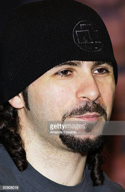 Drummer John Dolmayan of System of a Down signs copies of the band's new cd Mezmerize at Best Buy on May 17 2005 in Burbank California