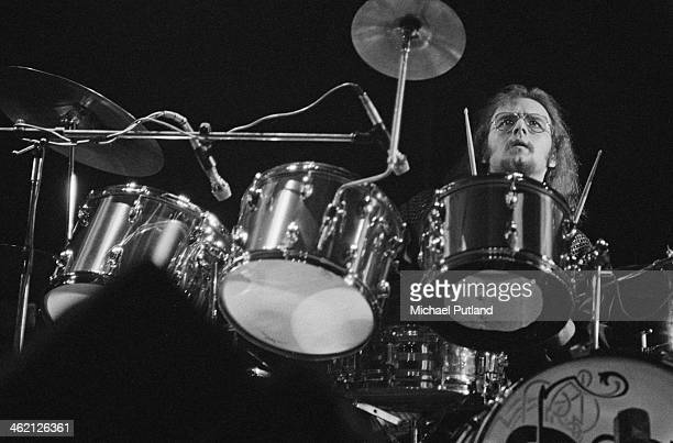 Drummer John Hartman performing with American rock group The Doobie Brothers at the Rainbow Theatre London 31st January 1974