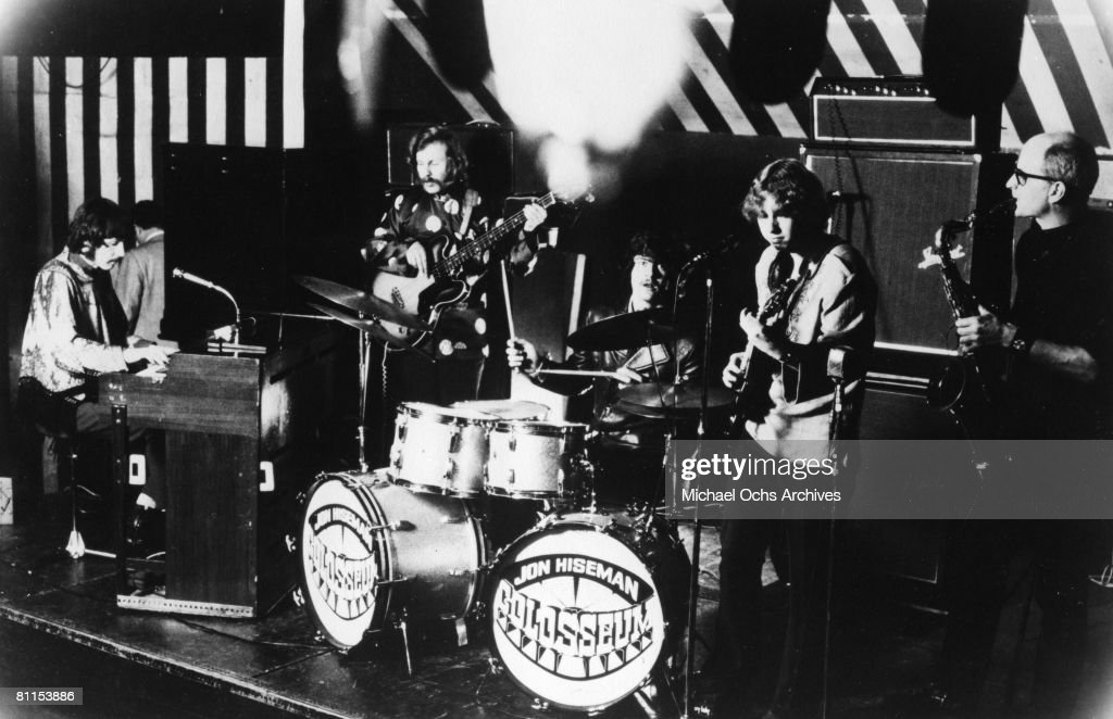 Drummer Jon Hiseman, organist Dave Greenslade, bassist Tony Reeves, guitarist James Litherland and saxophonist Dave Heckstall-Smith of the British jazz fusion band 'Colosseum' perform onstage in 1970 in the United Kingdom.