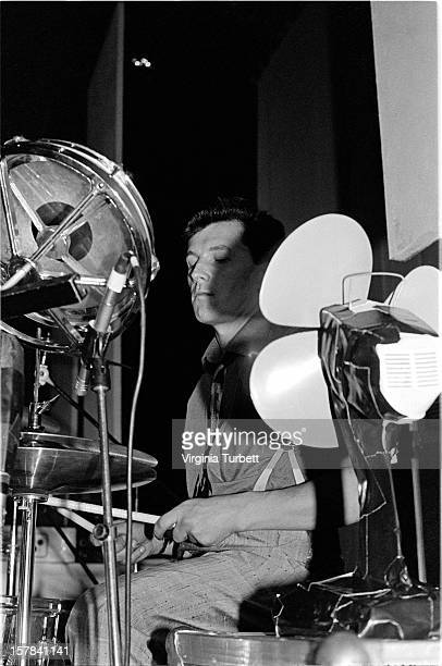 Drummer Kenny Hyslop performs on stage with Scottish rock band Simple Minds at Edinburgh Odeon Scotland 27th August 1981