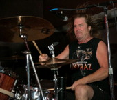 Drummer Larry Howe of the band Vicious Rumors performs live onstage at Old National Centre on September 21 2013 in Indianapolis Indiana