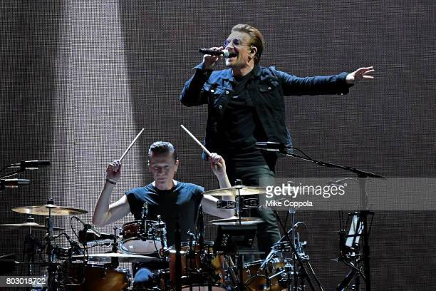 Drummer Larry Mullen Jr and Singer Bono of the band U2 perform during U2 'Joshua Tree Tour 2017' at MetLife Stadium on June 28 2017 in East...