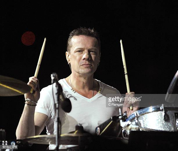 Drummer Larry Mullen Jr of U2 performs during the 360 Degree Tour at Rose Bowl on October 25 2009 in Pasadena California