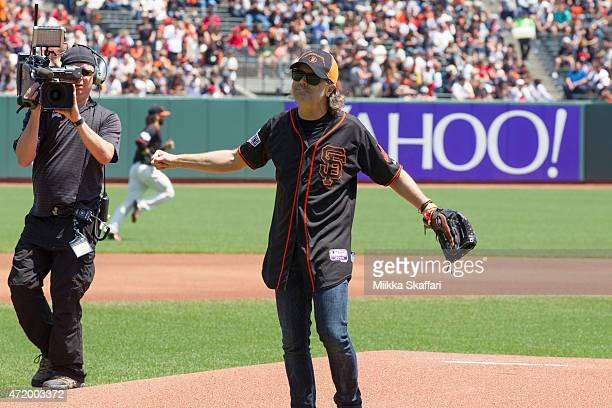 Drummer Lars Ulrich of Metallica throws the first pitch at Metallica Day at ATT Park on May 2 2015 in San Francisco California