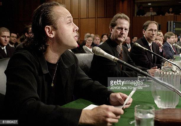 Drummer Lars Ulrich of the hard rock band Metallica testifies before the US Senate Judiciary Committee on music on the Internet 11 July 2000 on...