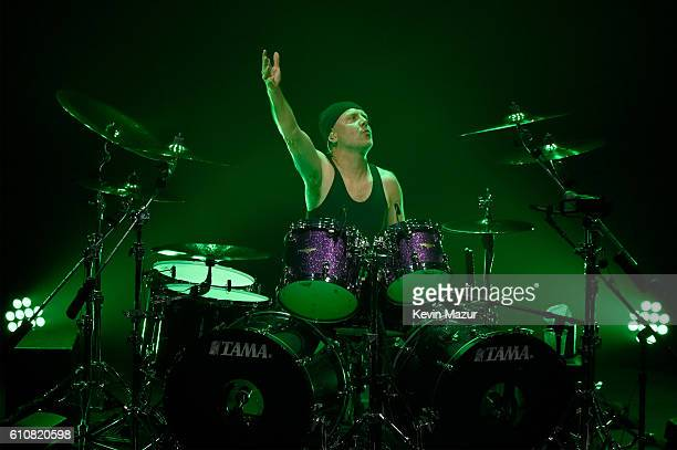 Drummer Lars Ulrich of the heavy metal band Metallica performs during a special Fifth Memember fan club show at Webster Hall on September 27 2016 in...
