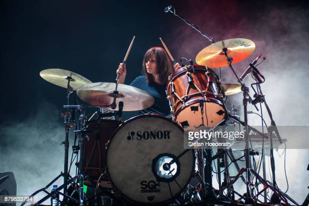 Drummer Leah Shapiro of Black Rebel Motorcycle Club performs live on stage during a concert at Columbiahalle on November 25 2017 in Berlin Germany
