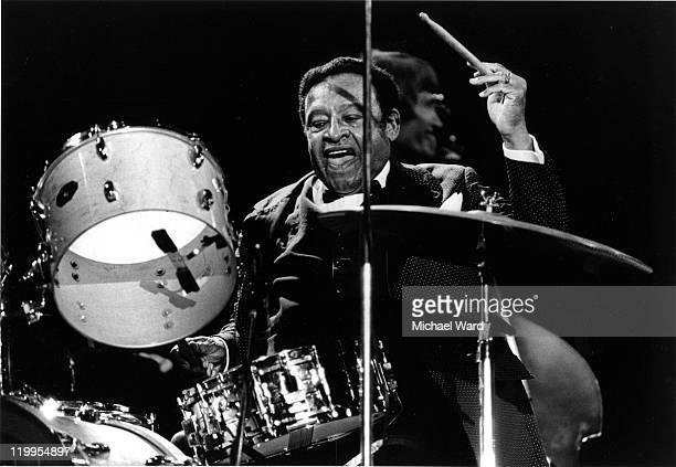 Drummer Lionel Hampton at the Knebworth Capital Radio Jazz Festival Britain 1982