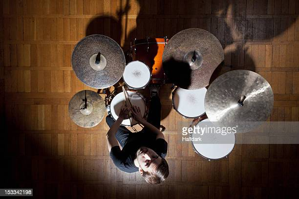 Drummer looks up