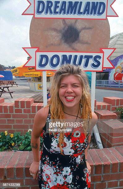 Drummer Lori Barbero of American punk rock band Babes In Toyland at the Dreamland amusement park Margate Kent UK July 1992 Photo by Kevin...