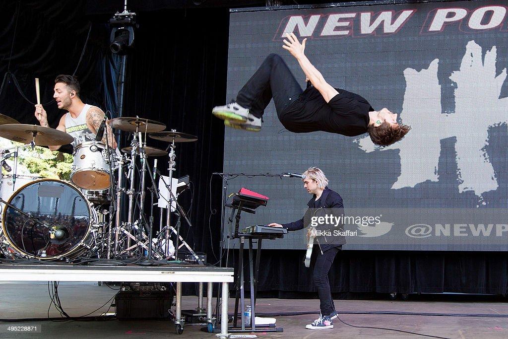 Drummer Louis Vecchio, vocalist David Boyd and guitarist Soren Hansen of New Politics perform at Live 105 BDF on June 1, 2014 in Mountain View, California.