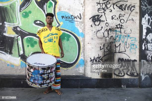 Drummer Marcio Fernando from the group Lemi Ayo poses at an AfroBrazilian festival held next to the Valongo slave wharf entry point in the Americas...