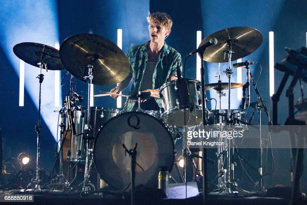 Drummer Mark Pontius of Foster The People performs on stage on opening night of their tour at The Observatory North Park on May 26 2017 in San Diego...