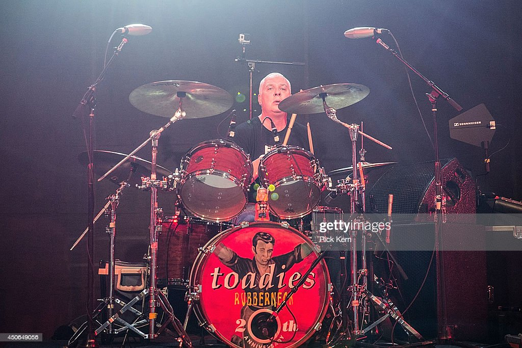 Drummer Mark Reznicek of the Toadies performs in concert during the Rubberneck 20th Anniversary Tour at Stubb's Bar-B-Q on June 14, 2014 in Austin, Texas.