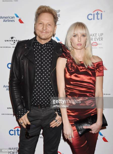 Drummer Matt Sorum and actress Ace Harper arrive at the Universal Music Group's 2017 GRAMMY After Party at The Theatre at Ace Hotel on February 12...