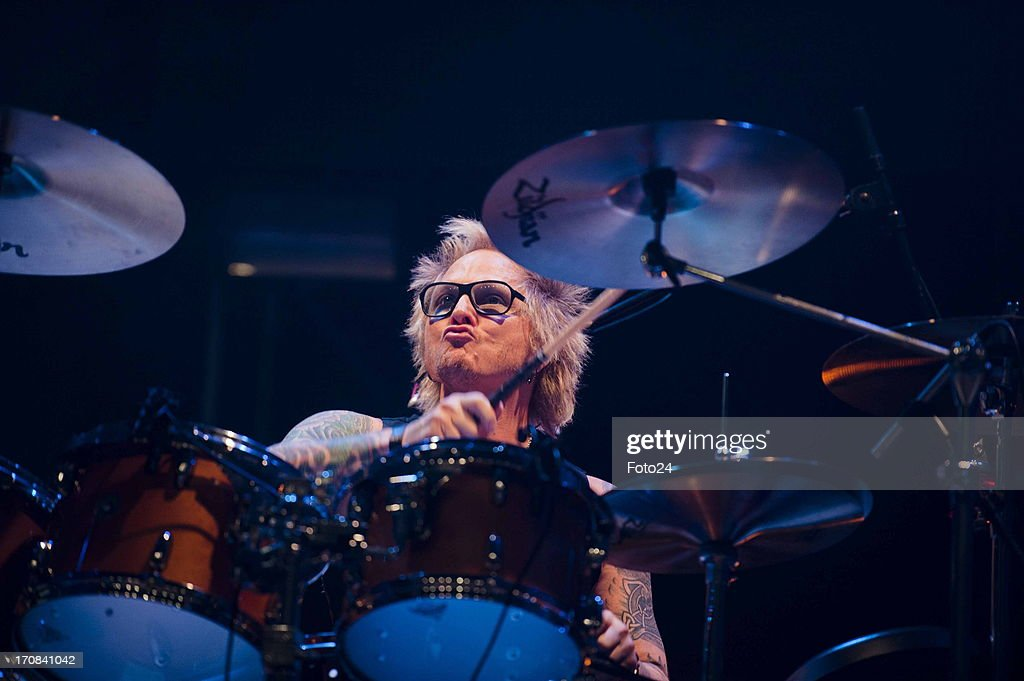 Drummer Matt Sorum during the Kings of Chaos concert on June 16, 2013 in Sun City, South Africa. Kings of Chaos performed in Sun City on June 15 and 16, 2013.