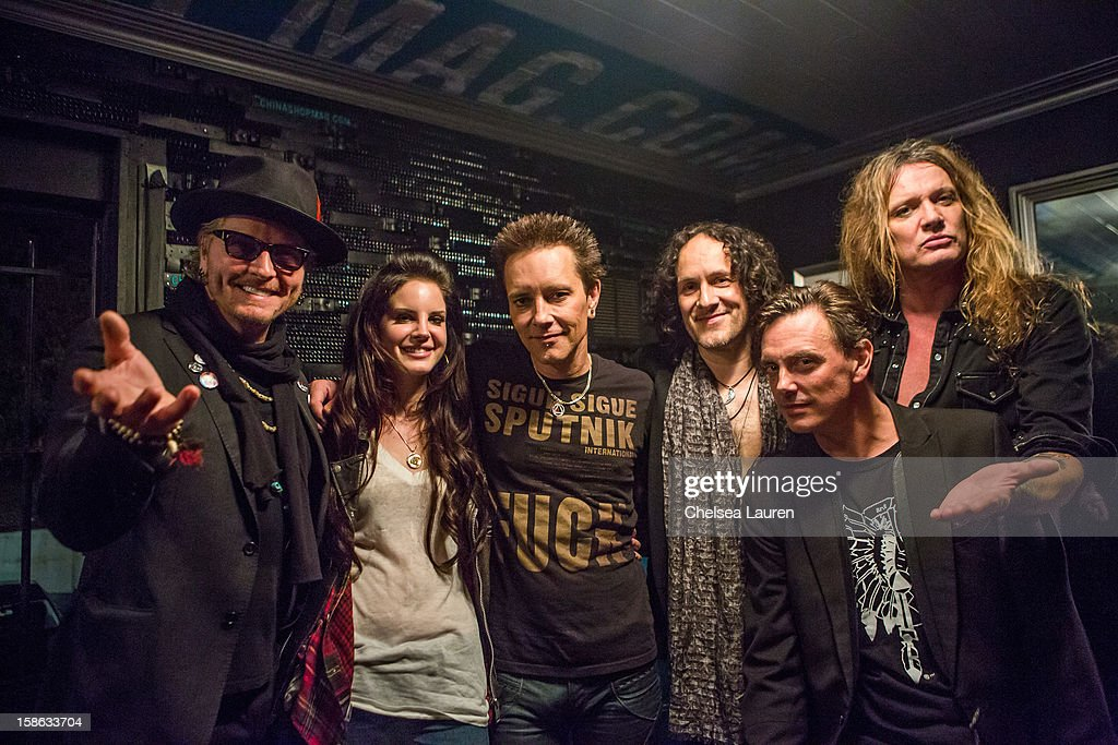 Drummer Matt sorum, singer <a gi-track='captionPersonalityLinkClicked' href=/galleries/search?phrase=Lana+Del+Rey&family=editorial&specificpeople=8565478 ng-click='$event.stopPropagation()'>Lana Del Rey</a>, guitarist Billy Morrison, guitarist <a gi-track='captionPersonalityLinkClicked' href=/galleries/search?phrase=Vivian+Campbell&family=editorial&specificpeople=559341 ng-click='$event.stopPropagation()'>Vivian Campbell</a>, vocalist Donovan Leitch and vocalist <a gi-track='captionPersonalityLinkClicked' href=/galleries/search?phrase=Sebastian+Bach&family=editorial&specificpeople=583692 ng-click='$event.stopPropagation()'>Sebastian Bach</a> pose backstage at Camp Freddy's holiday residency at The Roxy Theatre on December 21, 2012 in West Hollywood, California.