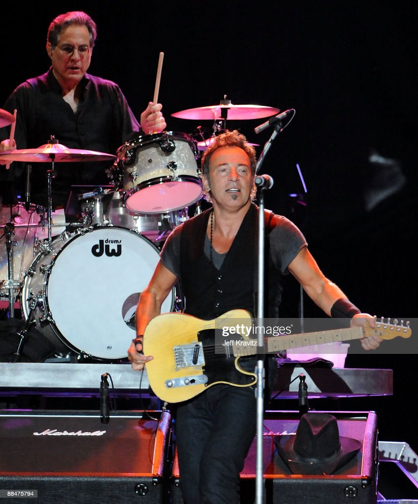 Drummer Max Weinberg and Bruce Springsteen of the E Street Band perform on stage during Bonnaroo 2009 on June 13, 2009 in Manchester, Tennessee.