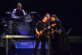 Drummer Max Weinberg Nils Lofgren Bruce Springsteen and Steven Van Zandt of Bruce Springsteen And The E Street Band performs at Prudential Center in...