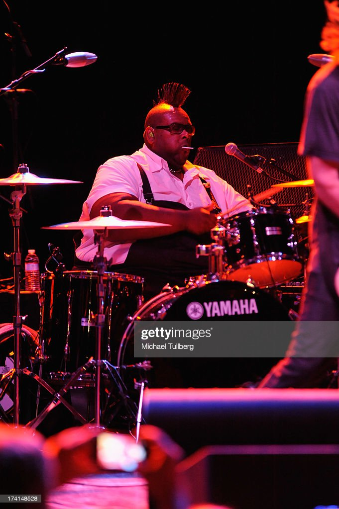 Drummer Michael Bland of Soul Asylum performs live at the LP Tour at the Wiltern Theatre on July 20 2013 in Los Angeles California