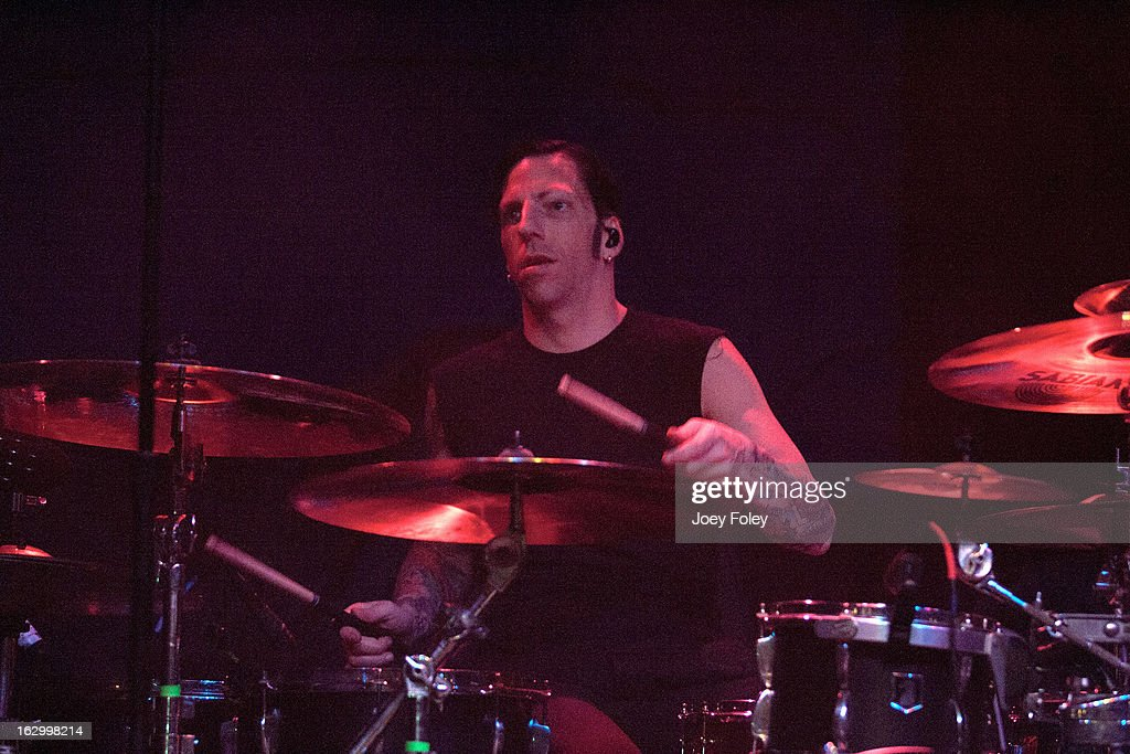 Drummer Michael McDermott of The Bouncing Souls performs in concert at Egyptian Room at Old National Centre on March 2, 2013 in Indianapolis, Indiana.