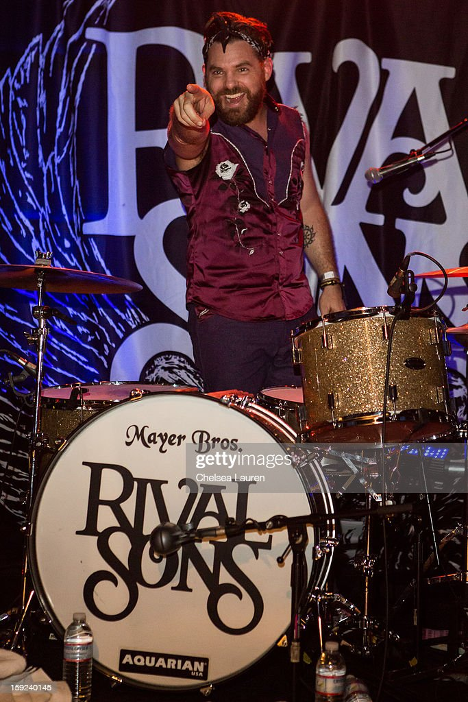 Drummer Michael Miley of Rival sons performs at The Echo on January 9, 2013 in Los Angeles, California.