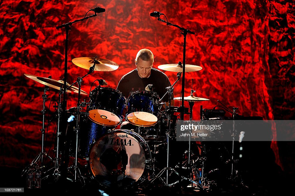 Drummer Mike Malinin of the Goo Goo Dolls performs at the Greek Theater on August 29, 2010 in Los Angeles, California.