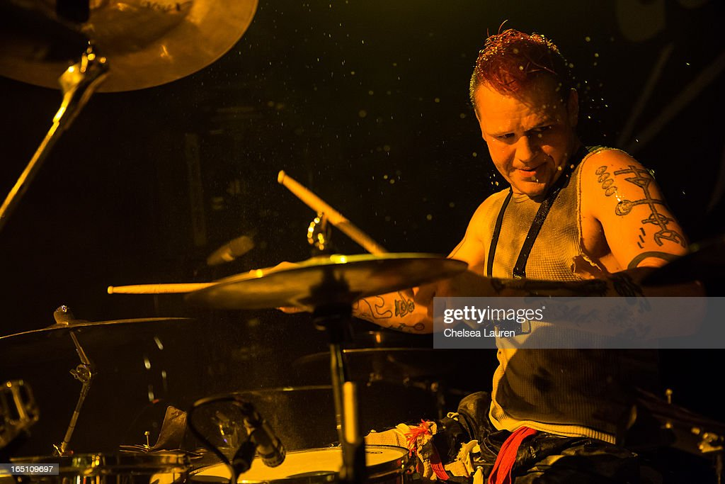 Drummer Mikey 'Bug' Cox of Coal Chamber performs at Club Nokia on March 29, 2013 in Los Angeles, California.