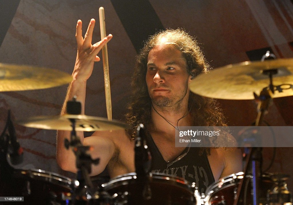 Drummer Morten Lowe Sorensen of Amaranthe performs at the LVCS as the band tours in support of the new album 'The Nexus' on July 28, 2013 in Las Vegas, Nevada.